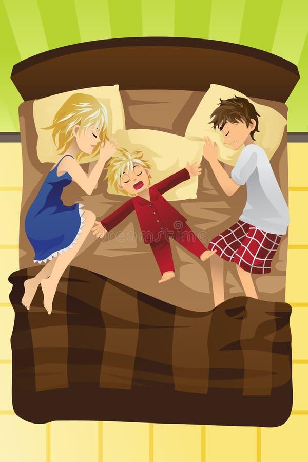 Genitori che dormono con il bambino illustrazione vettoriale