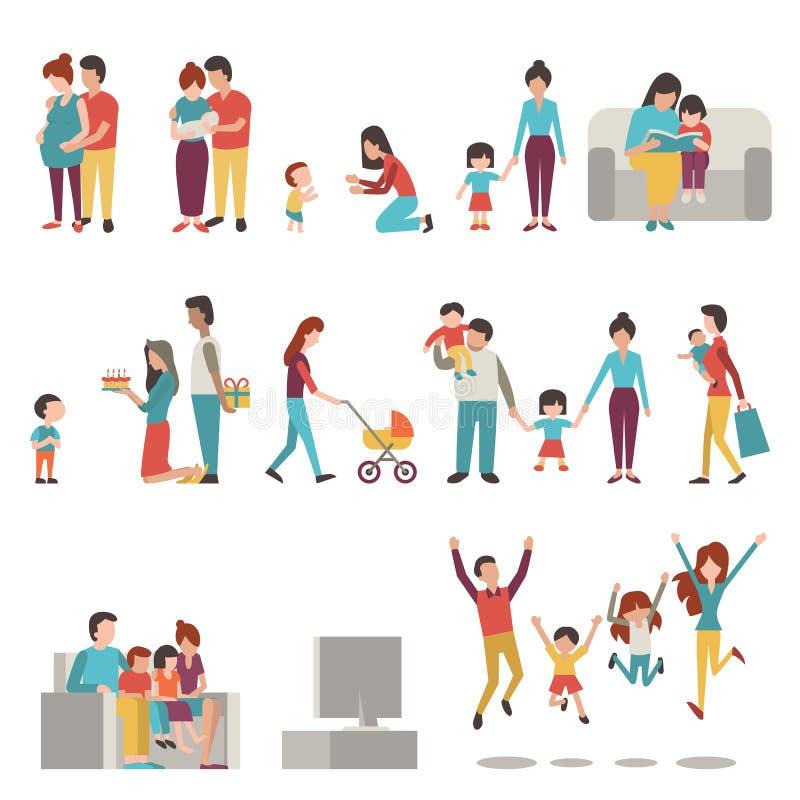 Genitori con i bambini royalty illustrazione gratis