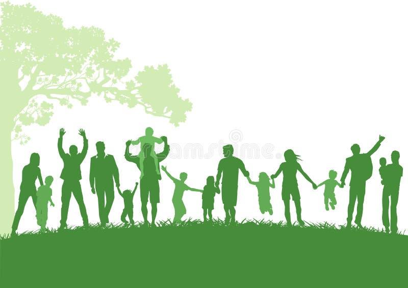 Genitori con i bambini all'aperto illustrazione vettoriale