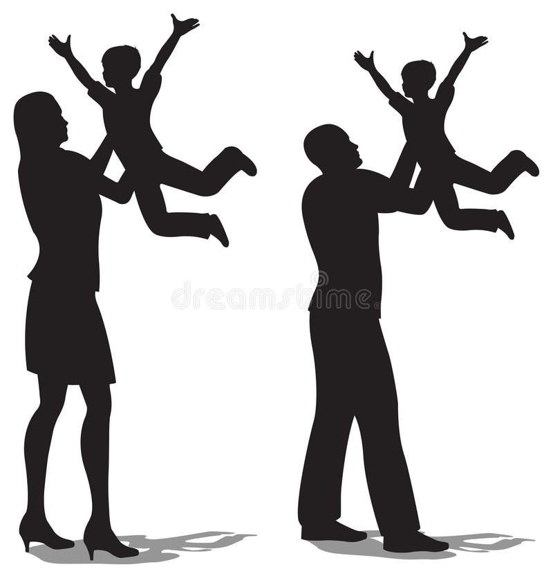Genitori con i bambini sulle mani illustrazione di stock