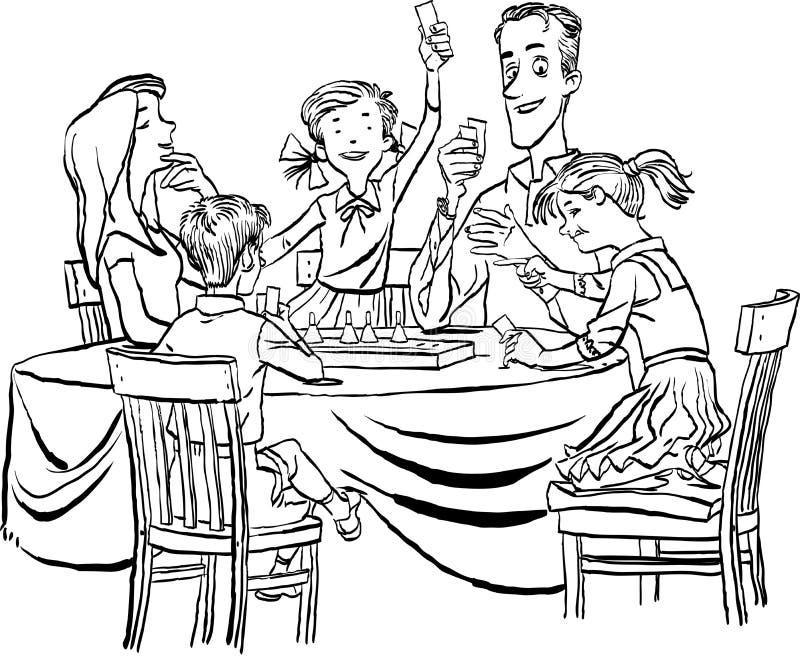 Genitori con i loro piccoli bambini che giocano insieme gioco da tavolo a casa Concetto di vacanza di famiglia illustrazione di stock