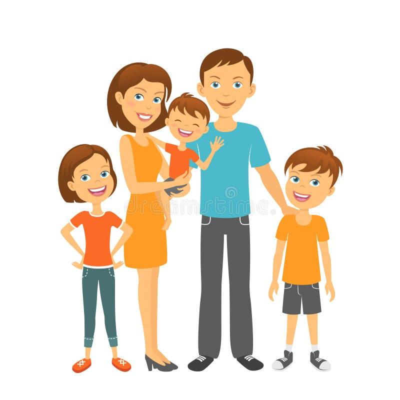 Genitori con la madre ed il padre felici della famiglia dei bambini con i bambini illustrazione vettoriale