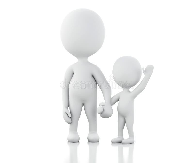 genitori 3d con i bambini illustrazione vettoriale