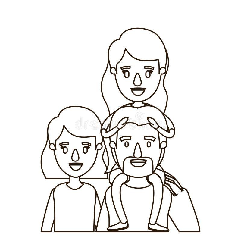 Genitori della famiglia del corpo di metà di caricatura di contorno di schizzo grandi con la ragazza sul suo indietro royalty illustrazione gratis