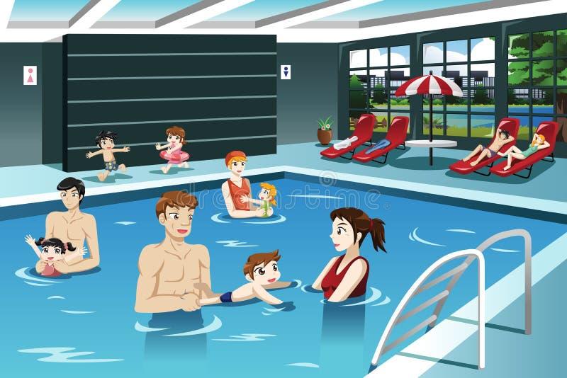 Genitori e bambini che nuotano illustrazione di stock