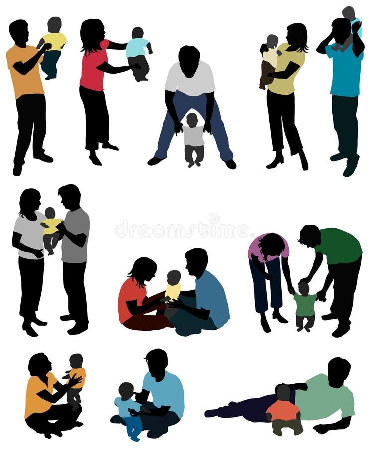 Genitori e bambino - siluette royalty illustrazione gratis