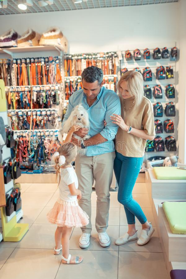 Genitori e figlia che vengono al negozio di animali a fine settimana fotografia stock