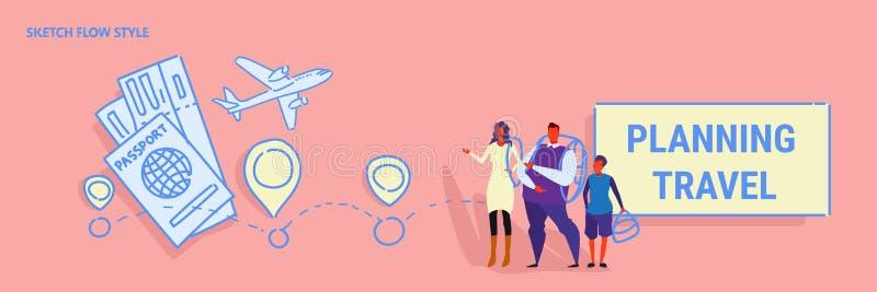 Genitori e figlio che stanno insieme l'itinerario di festa di concetto di viaggio di pianificazione familiare che sceglie hotel e illustrazione vettoriale