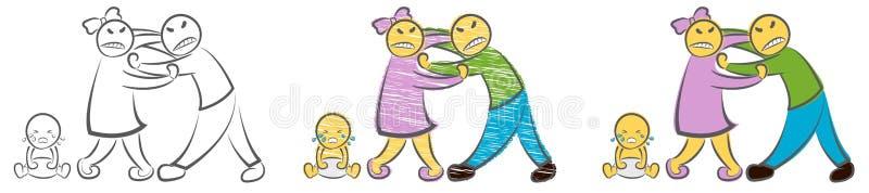 Genitori litiganti e gridare bambino Illustrazione disegnata a mano di vettore di scarabocchio del fumetto I caratteri tristi arr illustrazione vettoriale