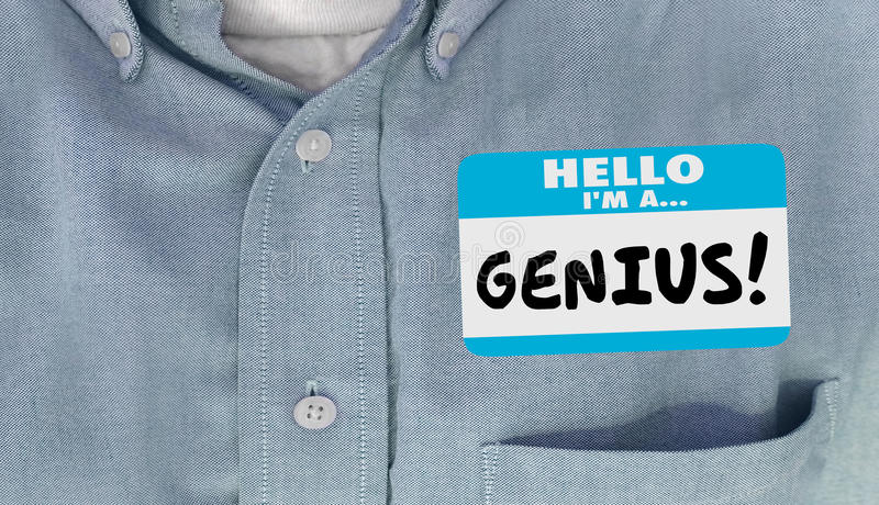 Genius Educated Name Tag Sticker Word Shirt. Genius Smart Intelligent Educated Name Tag Sticker Word Shirt vector illustration