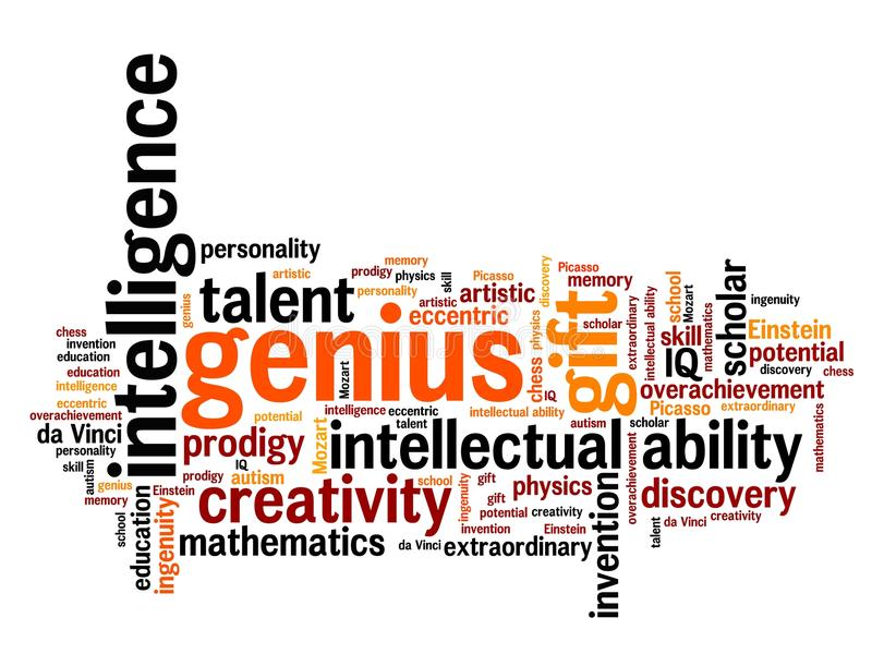 Genius. Issues and concepts word cloud illustration. Word collage concept stock illustration