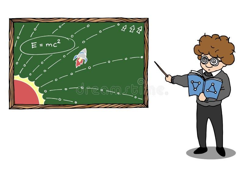 Genius teach emc2 physics, maths icon cartoon symbols vector hand drawn vector illustration