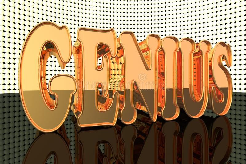 Genius. Word in gold with lights, 3d render royalty free illustration