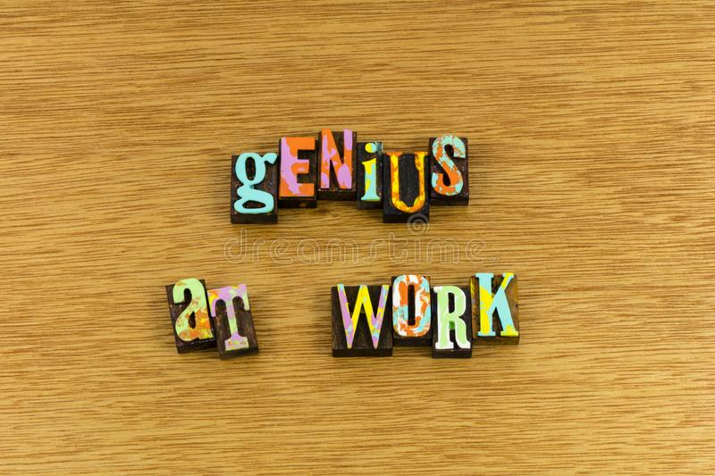 Genius at work. Quiet silence work brilliant genius gifted person employee working thinking letterpress strategy innovation motivation determination smart royalty free stock photo