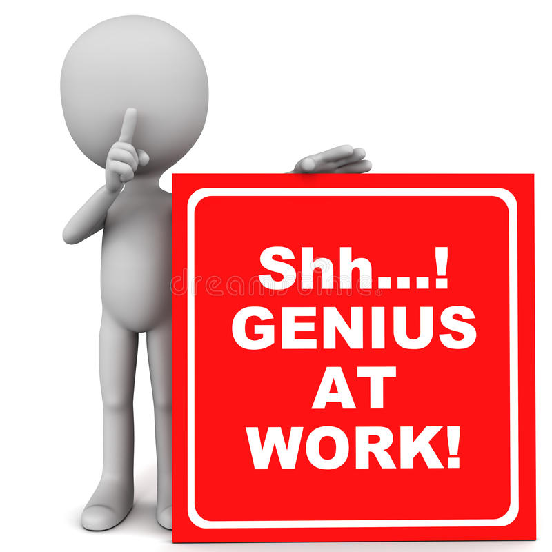 Genius at work. Shh... genius at work text in white over red banner held up by little 3d man, do not disturb work area concept graphic vector illustration