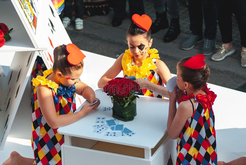 Genk, Belgium - May 1st 2019: Play cards themed float passing through Grotestraat during O-parade. Genk, Belgium - May 1st 2019: Playing cards themed float royalty free stock image