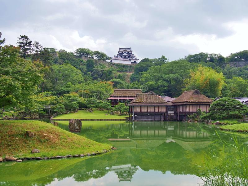 Genkyuen Garden in Hikone, Shiga Prefecture, Japan. stock image
