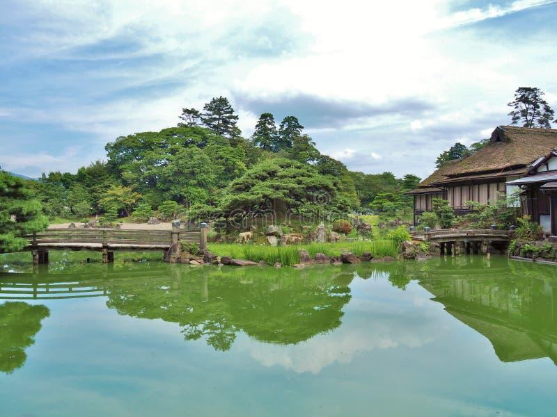 Genkyuen ogród w Hikone, Shiga prefektura, Japonia obrazy royalty free