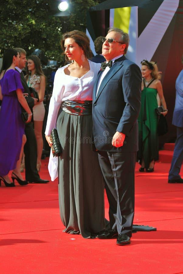 Gennady et Alisa Khazanovy au festival de film de Moscou images stock