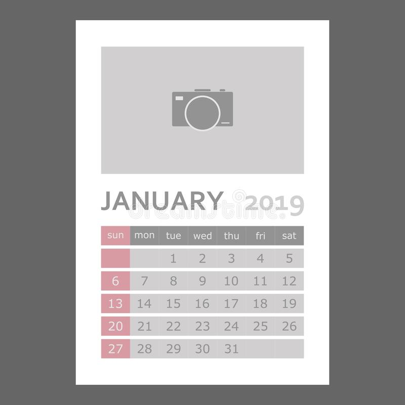 Gennaio 2019 calendario La settimana comincia domenica Strati raggruppati per la e illustrazione vettoriale