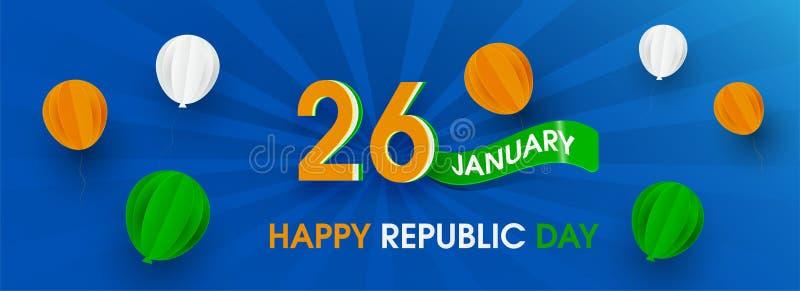 26 gennaio celebrazione di giorno della Repubblica illustrazione di stock