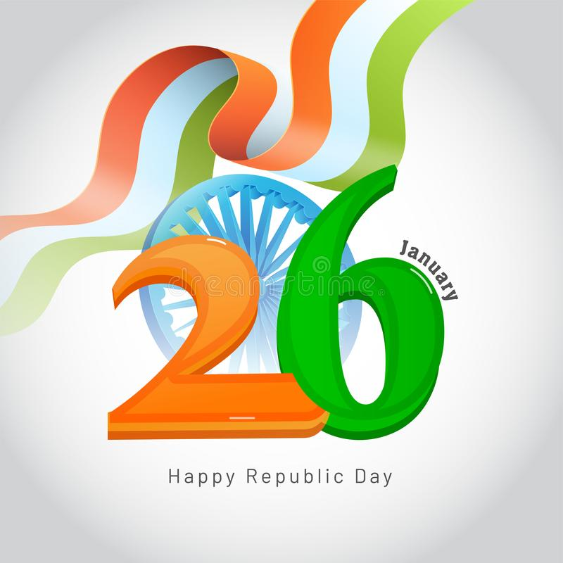 26 gennaio, concetto felice di celebrazione di giorno della Repubblica con il illustra illustrazione vettoriale