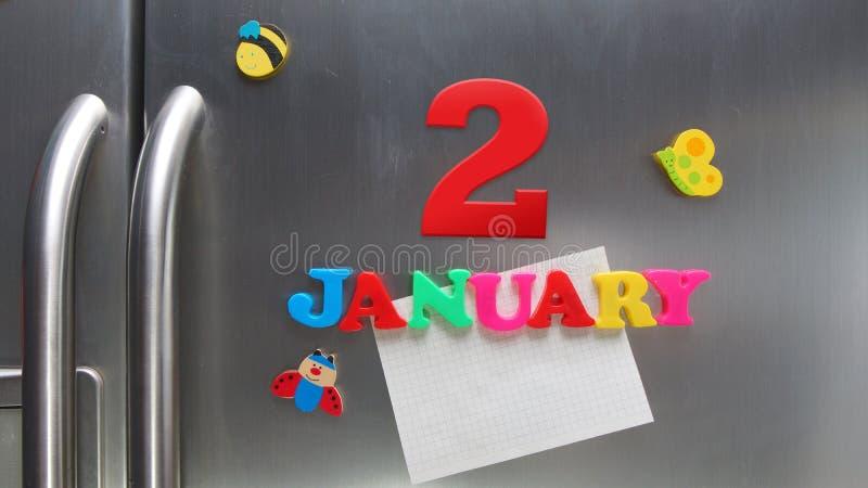 2 gennaio data di calendario fatta con le lettere magnetiche di plastica fotografia stock