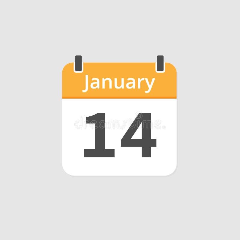 14 gennaio icona del calendario su fondo grigio immagini stock libere da diritti