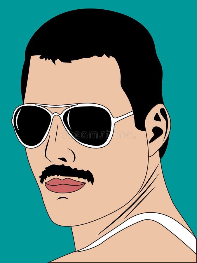 25 gennaio 2019 L'illustrazione di Freddie Mercury, uso editoriale di Pop art soltanto illustrazione vettoriale