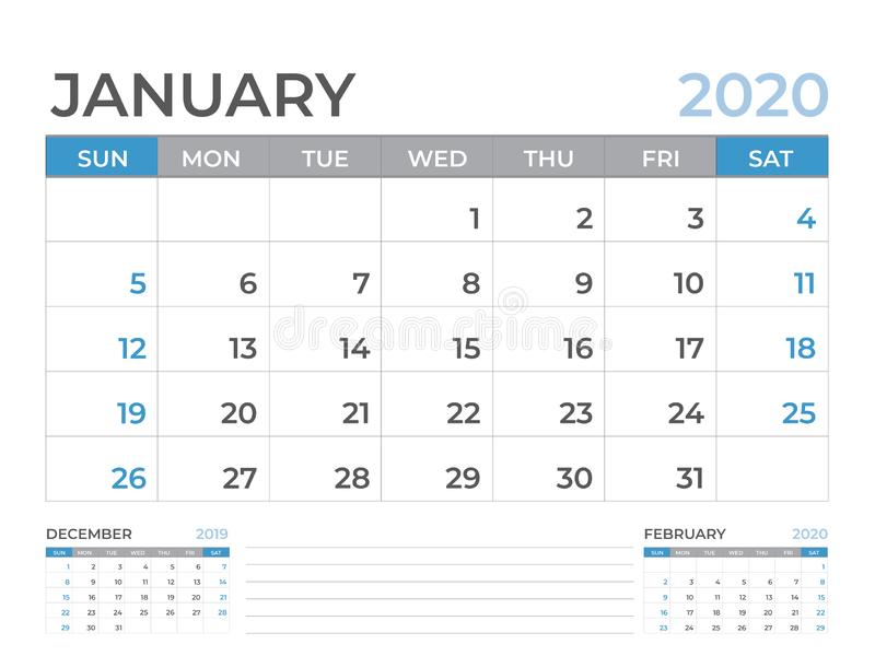 Gennaio 2020 modello del calendario, dimensione 8 x a 6 pollici, progettazione del pianificatore, inizio del layout calendario di illustrazione vettoriale