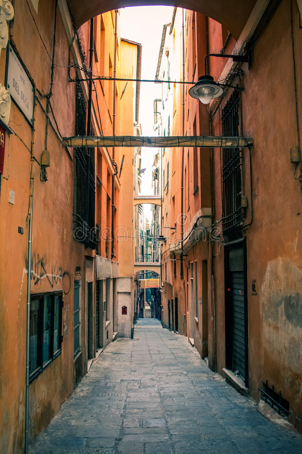 Genoa alley. Old street in downtown of Genoa, Italy stock image
