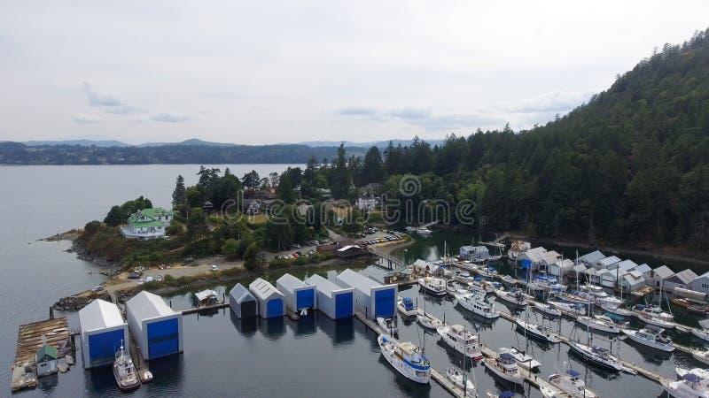 Genoa Bay aerial view in Vancouver Island stock photos