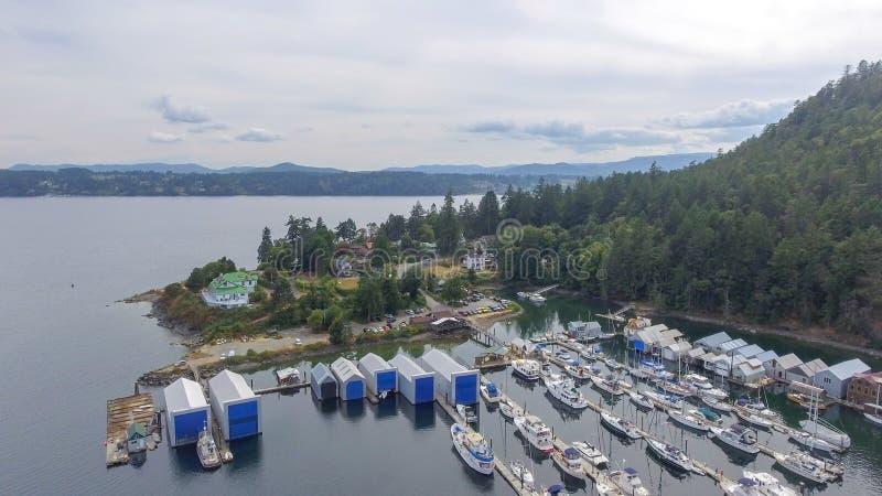 Genoa Bay från luften, British Columbia arkivbild