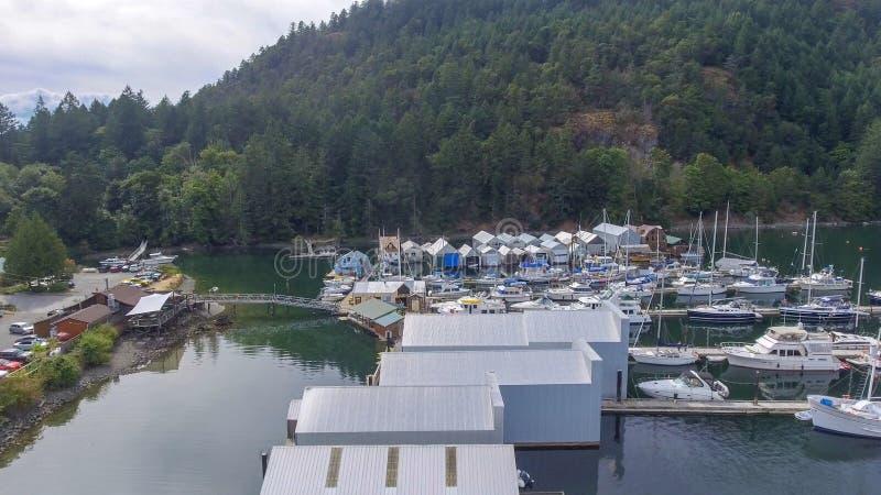 Genoa Bay från luften, British Columbia arkivfoton