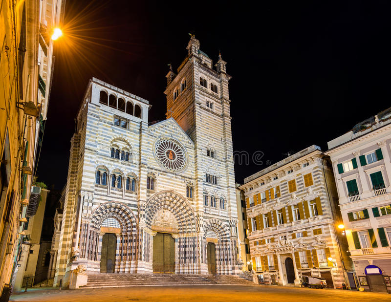 Genoa Cathedral of Saint Lawrence. Italy stock photo