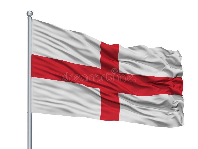 Genoa City Flag On Flagpole, Italia, aislada en el fondo blanco libre illustration
