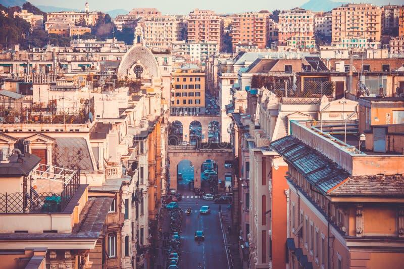 Genoa. The city of Genoa, Liguria region, Italy. Toned picture stock images