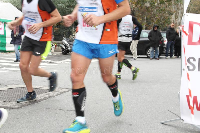 Genoa City Marathon running race on 2 December 2018. The race took place in Genoa to commemorate the victims of the collapse of the Morandi bridge on 14 August stock photos