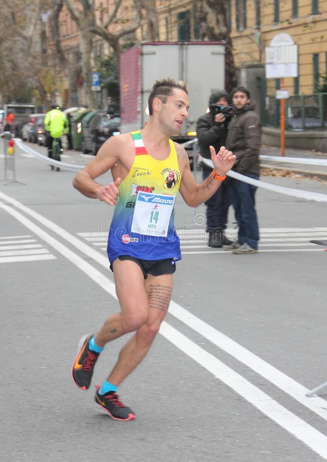 Genoa City Marathon running race on 2 December 2018. The race took place in Genoa to commemorate the victims of the collapse of the Morandi bridge on 14 August stock photo