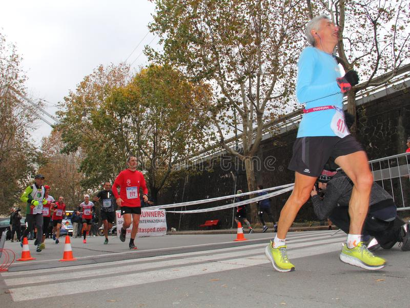 Genoa City Marathon running race on 2 December 2018. The race took place in Genoa to commemorate the victims of the collapse of the Morandi bridge on 14 August royalty free stock photography
