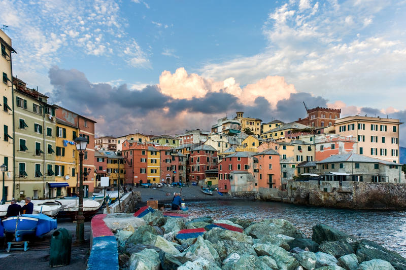Genoa - District Boccadasse. Travel Series - Italy. A picturesque view of the small fishing port Boccadasse, Genoa, Liguria royalty free stock photos