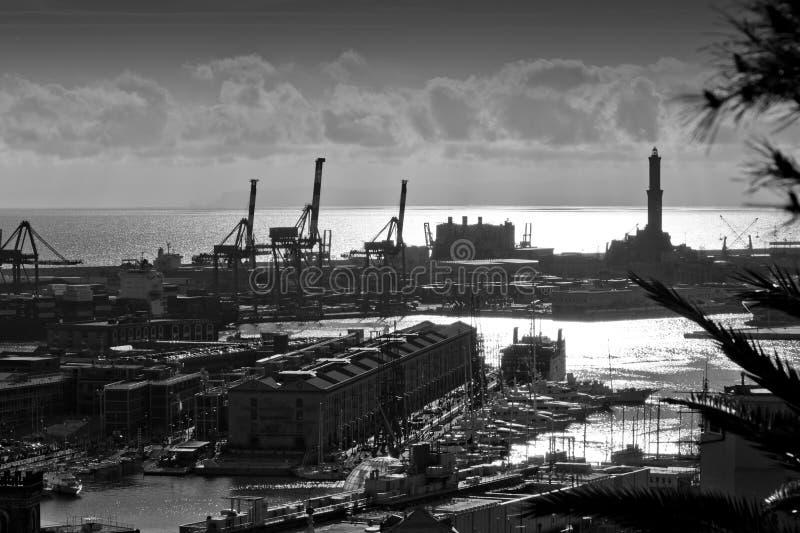 Genoa em a noite imagens de stock royalty free
