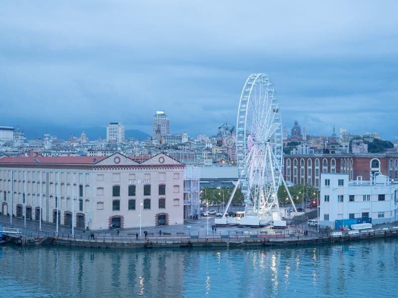 Genoa the Ferris wheel view from the sea. Genoa at the ancient port the Ferris wheel view from the sea stock photography