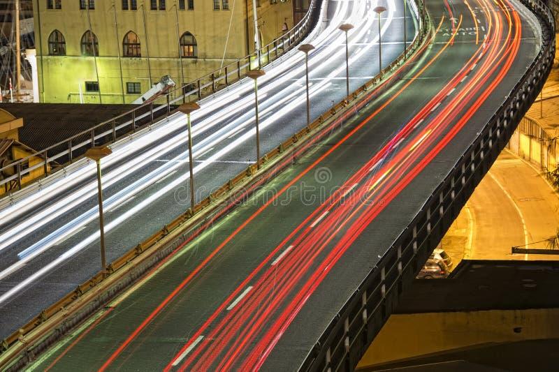 Genoa Flyover en la noche fotografía de archivo