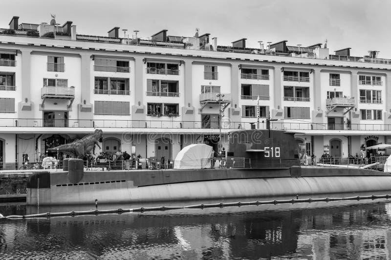 Italian Navy Nazario Sauro 518 submarine - museum ship in Genoa. Genoa Genova, Italy - October 28, 2017: Nazario Sauro 518 submarine is a diesel-powered royalty free stock photos