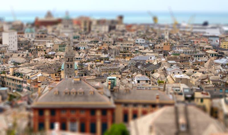 Genoa Genova italy old town tilt shift. Miniature effect royalty free stock photos
