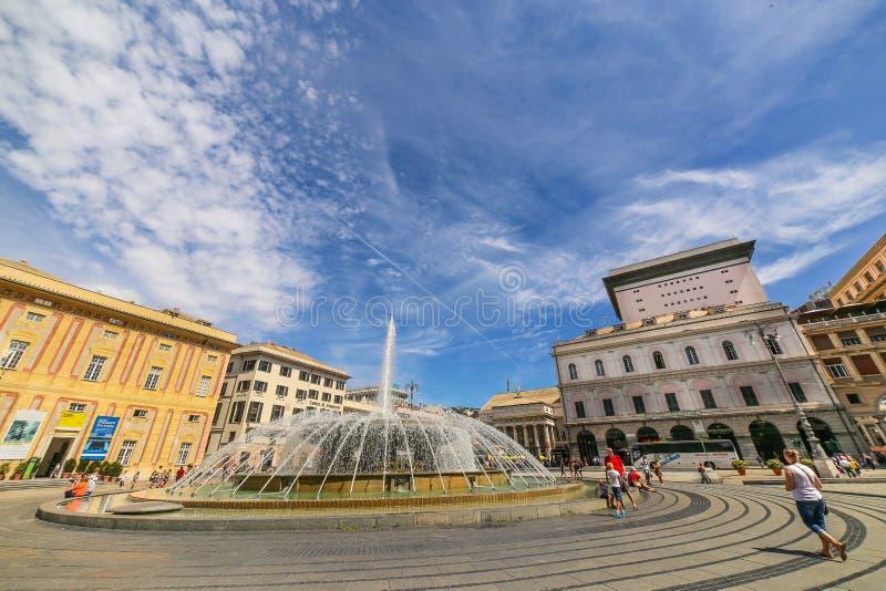 GENOA GENOVA - View of De Ferrari square with the central fountain. GENOA GENOVA, ITALY - View of De Ferrari square with the central fountain royalty free stock photo