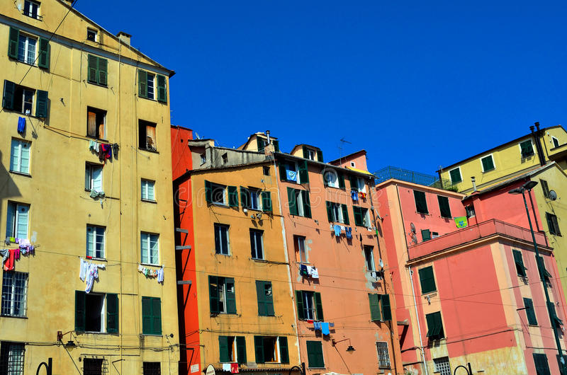 Genoa houses stock photo