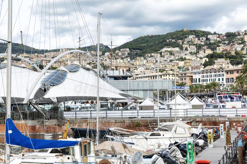Genoa, Italy, 10/04/2019: Beautiful view of the port in the beautiful old historic city stock photos