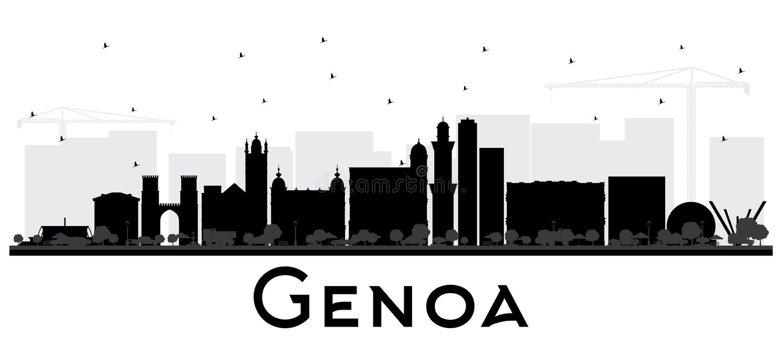 Genoa Italy City Skyline with Black Buildings Isolated on White. Vector Illustration. Business Travel and Tourism Concept with Modern Architecture. Genoa stock illustration